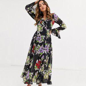 ASOS DESIGN wrap maxi dress with frills NWT US8